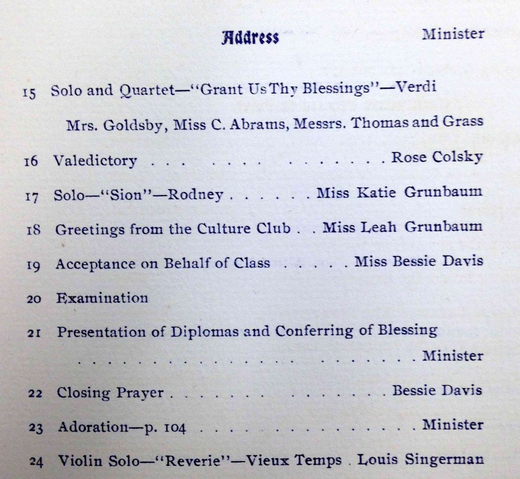 """A portion of """"The Order of Services"""" page in the 1901 Temple De Hirsch Ceremony of Confirmation Program"""