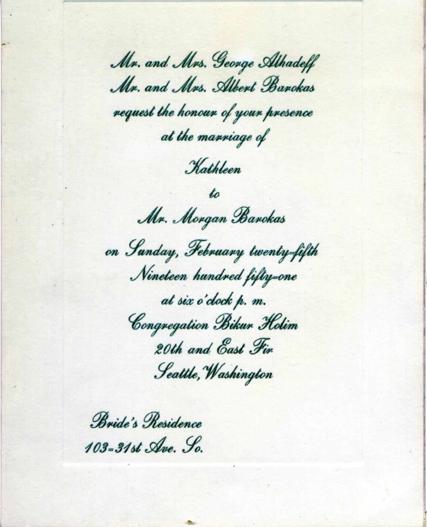 Kathleen Alhadeff and Morgan Barokas wedding invitation