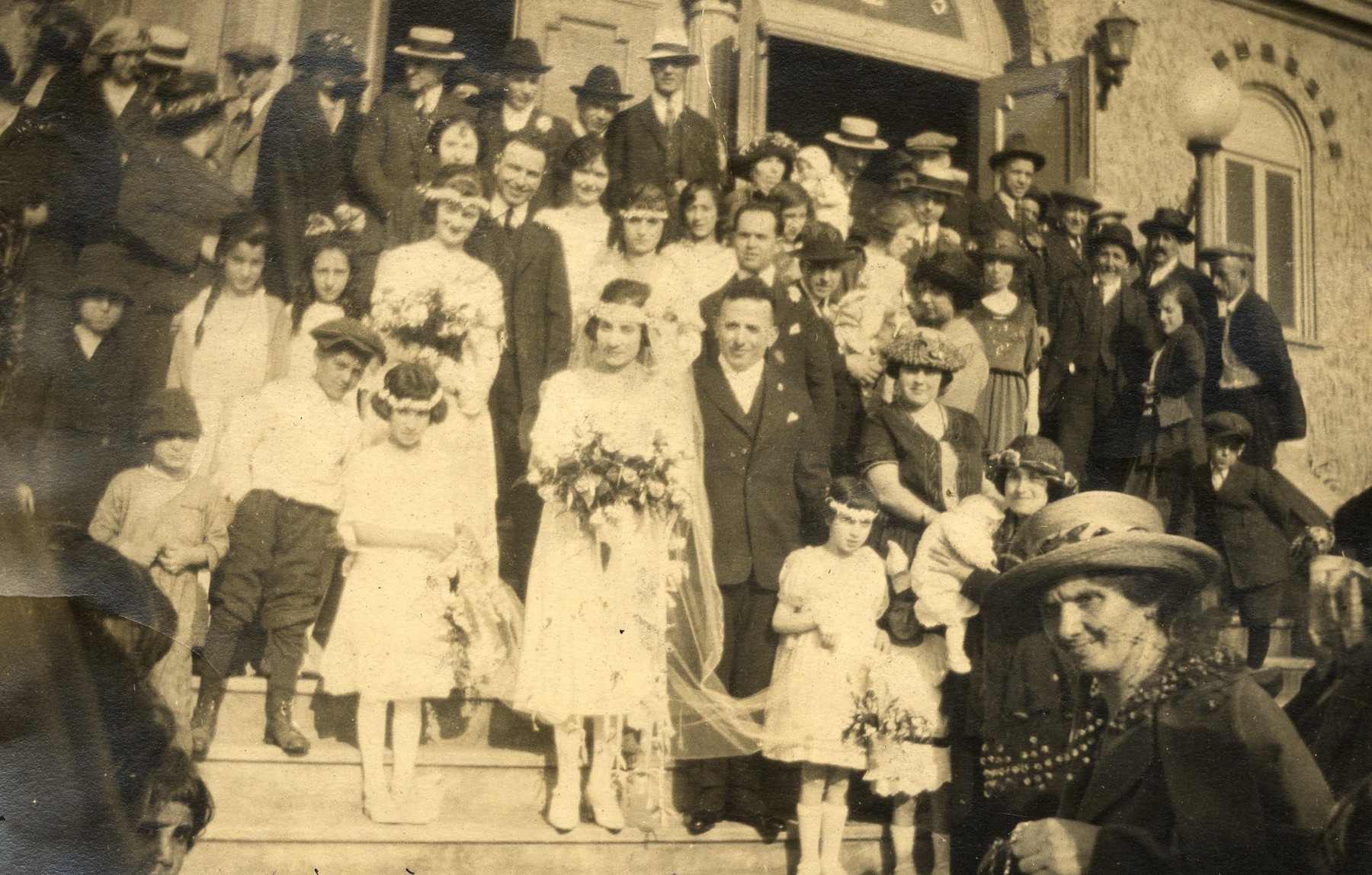 Joseph Benbeniste and Margaret Albohaire wedding photograph at Congregation Ezra Bessaroth, 15th Ave. and E. Fir Street, Seattle, WA