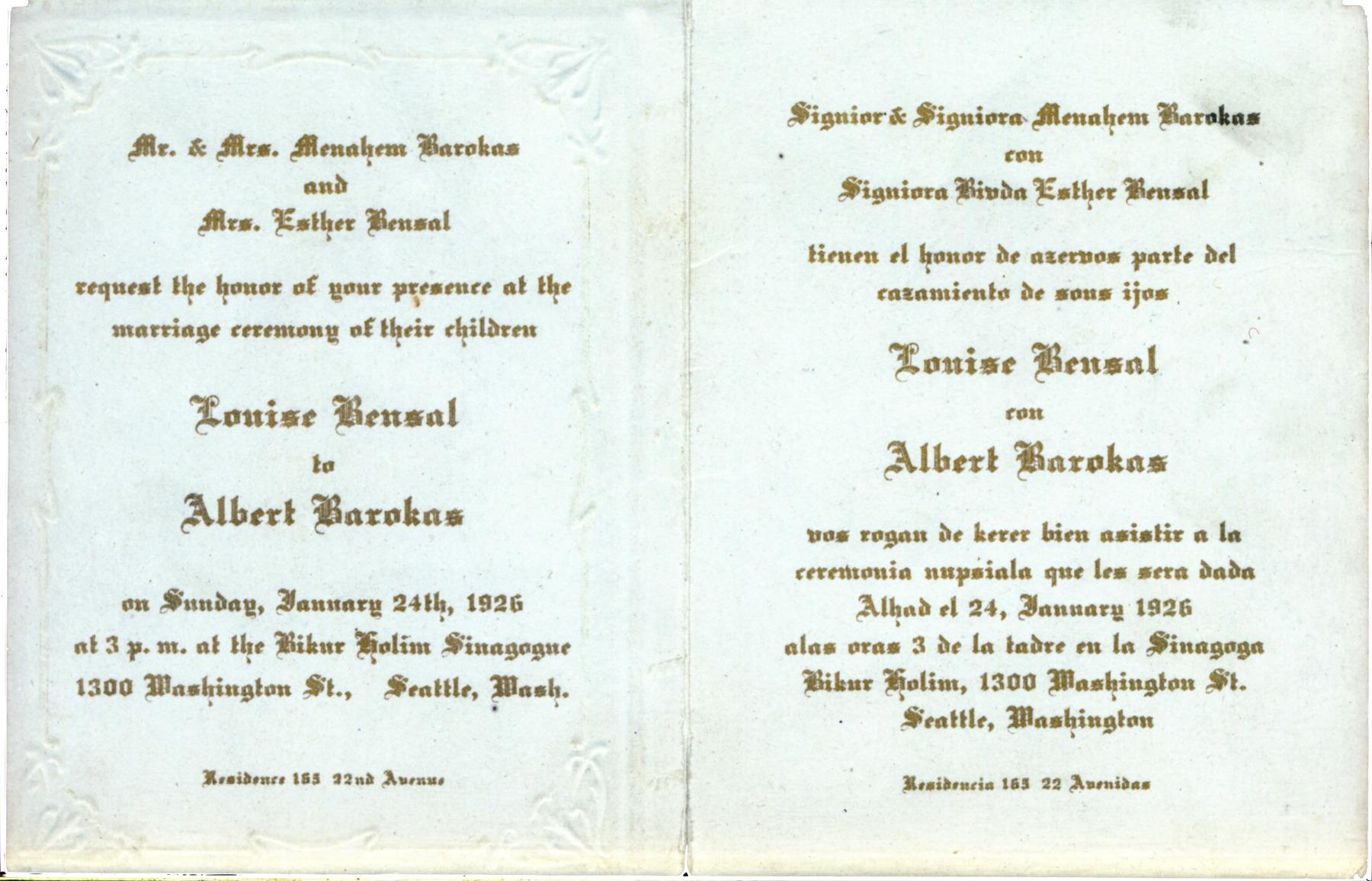 Louise Bensal and Albert Barokas wedding invitation
