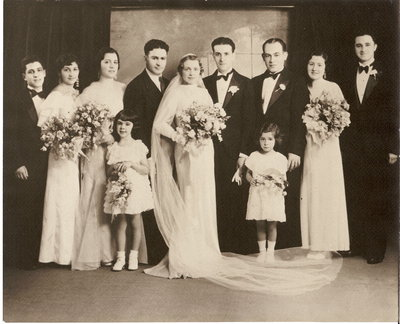 Betty Policar and Samuel Alhadeff's wedding party