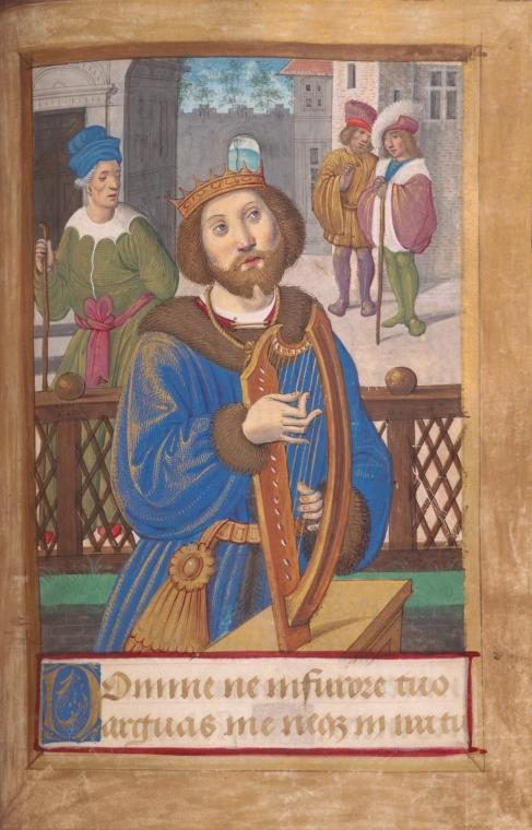 The original Israeli rock star? King David playing his harp, by Jean Poyer (1465-1503). Manuscript miniature courtesy of New York Public Library Digital Gallery, Image ID: 1261826.