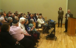 Audience members asked Prof. Bunis about the history of Ladino, also known as Judezmo.