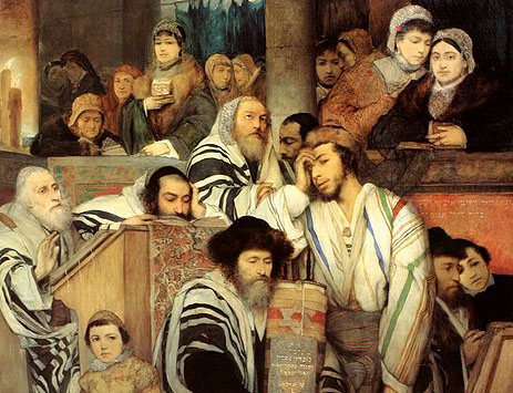 Jews in the Synagogue on Yom Kippur, Maurycy Gottlieb
