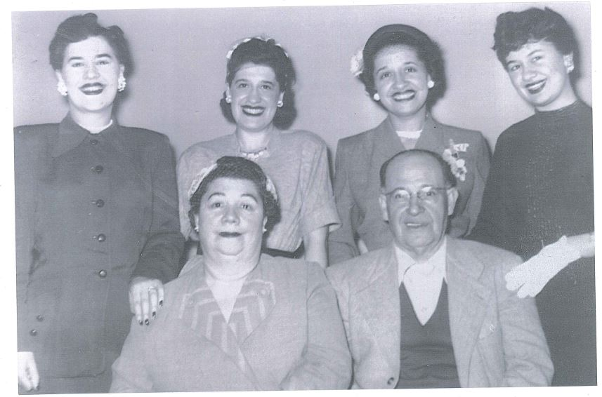 The Behar family in Seattle, 1954. Front row: Rebecca and Leon Behar. Back row: Daughters Matilda, Lena, Sara, and Josephine. Courtesy of Robin Agoado Roberts.