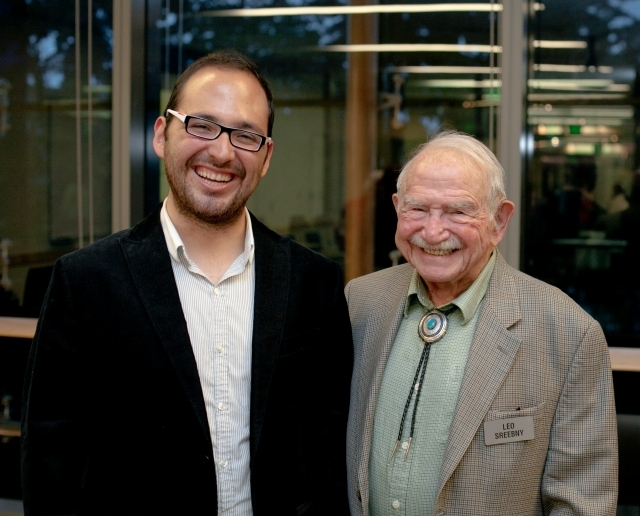 Oscar Aguirre-Mandujano, the 2013-14 Mickey Sreebny Memorial Scholar, with Dr. Leo Sreebny. Photo by Meryl Schenker.