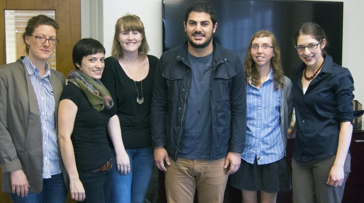 The 2014-15 Jewish Studies Graduate Fellowship: Summer Satushek, Katja Schatte, Molly FitzMorris, Justin Shanitkvich, Christina Sutton, and fellowship coordinator Hannah Pressman.