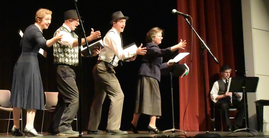 """Book-It Repertory Theatre actors bringing nine decades of local Jewish news to life at the Nov. 16 performance of """"Letters to the Editor"""" at the Stroum JCC. Photo by Joel Magalnick."""