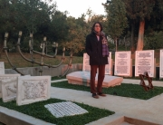 Devin Naar visits the new monument at the University of Thessaloniki commemorating the Jewish cemetery that used to exist there. Photo credit: Argiro Mitilinou.