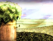 "A still shot from the animated short film ""Woods"" (2007), by the Israeli animator Idan Vardi."