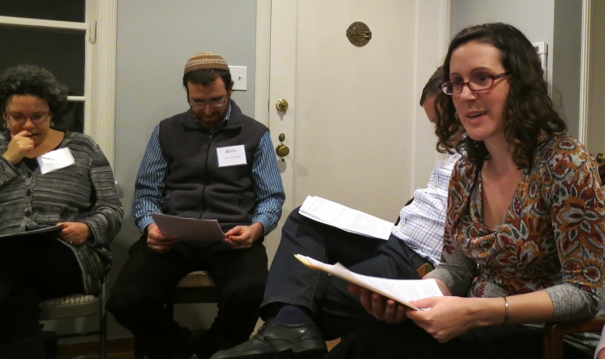 Prof. Mika Ahuvia, at right, leads the Jan. 28th session of the Community Learning Fellowship. Photo by Lauren Spokane.