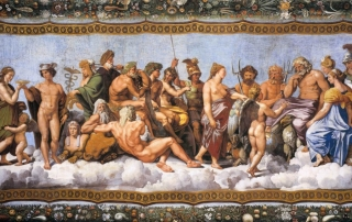 The Olympians receiving Psyche. Ceiling fresco by Raphael at the Villa Farnesina, Rome. Ca. 1518.
