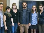 The 2014-15 class of Jewish Studies Graduate Fellows: Summer Satushek, Katja Schatte, Molly FitzMorris, Justin Shanitkvich, Christina Stajnkrycer, and coordinator Hannah Pressman.