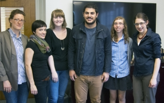 The 2014-15 class of Jewish Studies Graduate Fellows: Summer Satushek, Katja Schatte, Molly FitzMorris, Justin Shanitkvich, Christina Stajnkrycer, and coordinator Hannah Pressman.