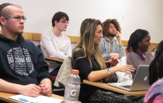"""Students participate in class discussion for """"Prayers and Poetry in the Jewish and Islamic Traditions."""""""