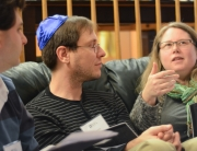 Kevin Britt and Deirdre Gabbay debate a point during a 2015 Community Learning Fellowship session.