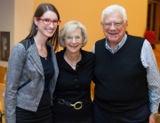 Associate Director Lauren Spokane with Lucy and Herb Pruzan at the welcome lecture for Prof. Mika Ahuvia, March 2015. Photo by Meryl Schenker.