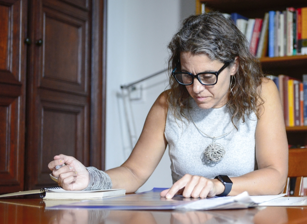 Dr. Marina Rustow in her Princeton University office. Her research focuses on the Cairo Geniza.