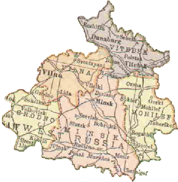 This map of Belarus was scanned from a 1916 atlas. Vitebsk is in the northeast section. The nearby town of Dunaburg was previously known as Dvinsk and is called Daugavpils today. Image via jewishgen.org.