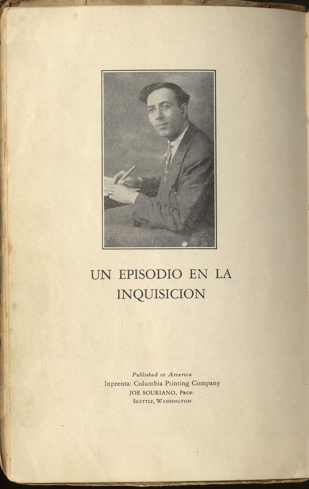 Albert Levy's novel, An Episode of the Inquisition, is the only Ladino novel known to have been published in Seattle. Image courtesy of the Sephardic Studies Digital Library.