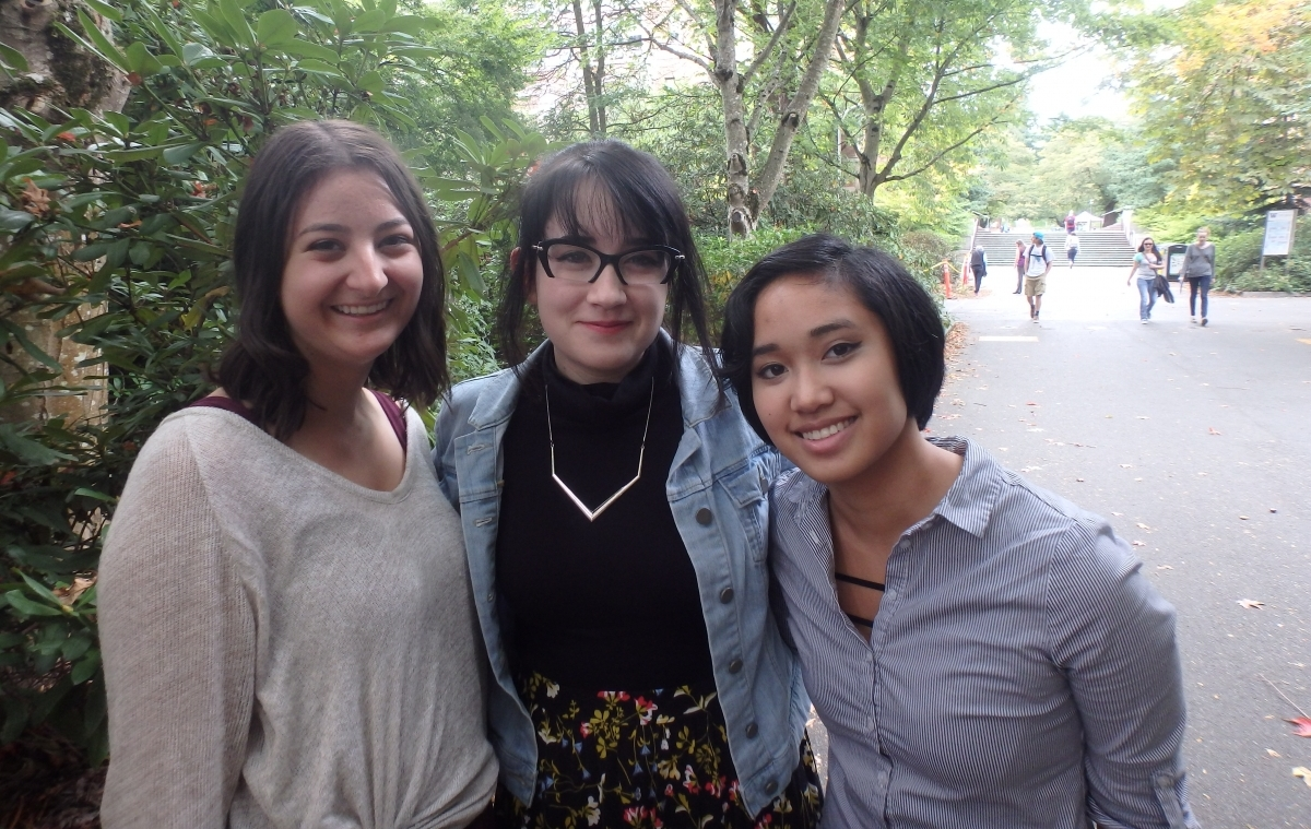 The 2015-16 Stroum Center interns: Molly Dubow, Doria Nelson, and Angela Ugalino.