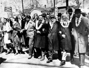 March 21, 1965: Rabbi Abraham Joshua Heschel was among the civil rights leaders marching with Rev. Martin Luther King Jr. from Selma Alabama to the state capitol in Montgomery.