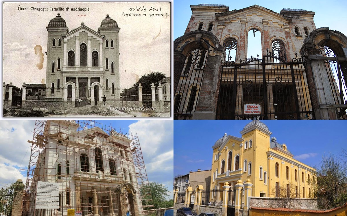 The Grand Synagogue of Edirne, Turkey, over the years. Collage via Salom Newspaper.