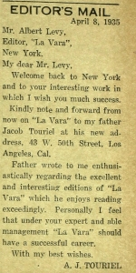 Letter to Albert Levy following his return to New York