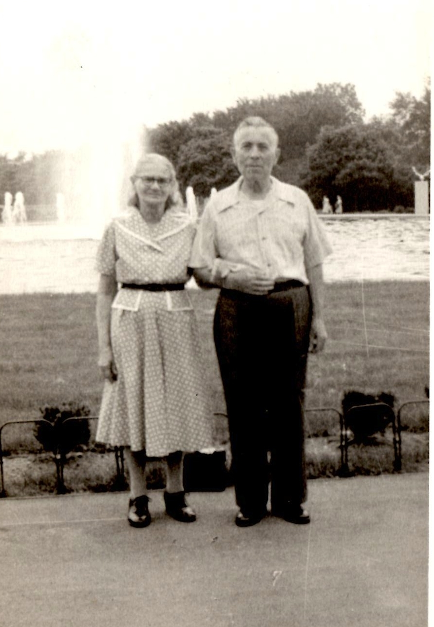The authors great-grandparents in Chicago in the 1950s. Their birth names were Mirel Zachar and Simcha Baranovsky, and their naturalized American names were Samuel and Mary Barr. Image via private family collection.