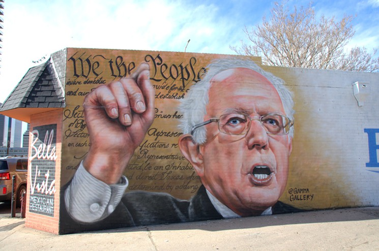 Bernie Sanders in a mural by Denver artist Gamma. Photo by Lindsey Bartlett.