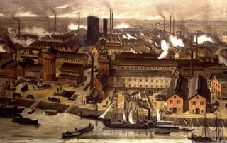 Painting of factories in German city