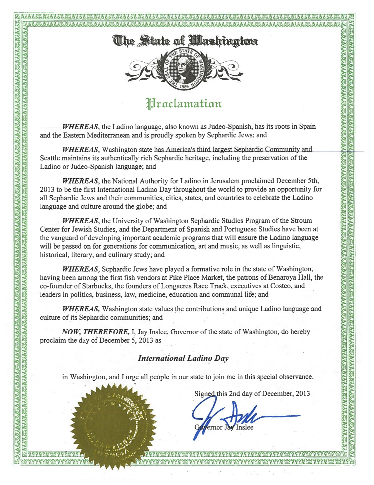 International Ladino Day Proclamation by Washington State Governor Jay Inslee, December 2nd 2013.