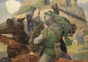 "Cover of the book ""The Boy's King Arthur,"" showing two knights in armor clashing on horesback"