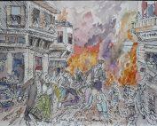 """Study for 1917 Fire —Salonika"" (2016) by Harry I. Naar (Courtesy of Naar)"