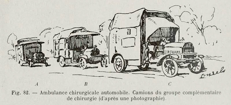 """An illustration of the surgery van and """"accompanying vehicles"""""""