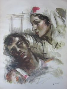Painting of a concerned nurse tending to a wounded soldier