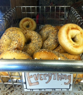A selection of tasty everything bagels.
