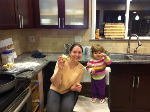 Cathy and Hila with their challah