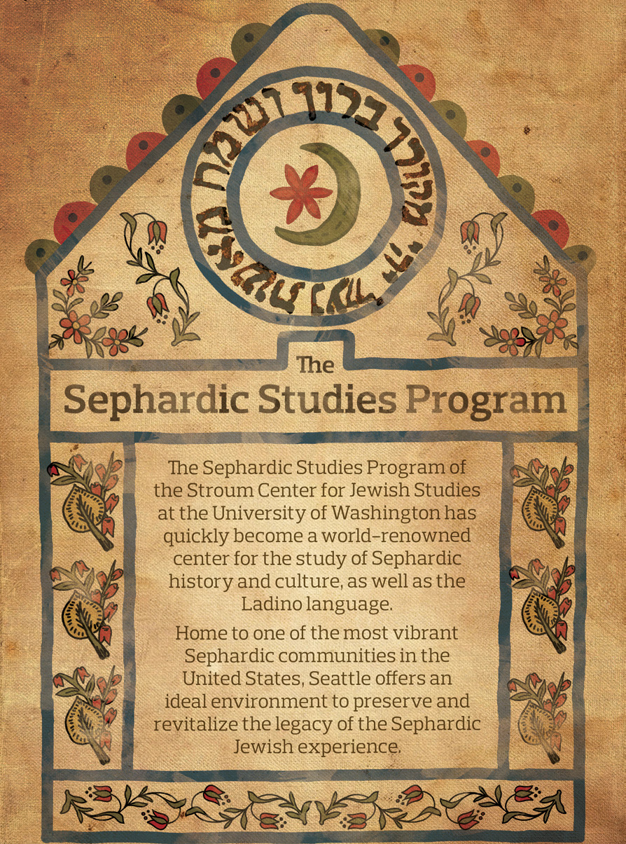 "A historic ketubah on yellowed canvas showing a crescent moon and flowers in green and red. Inset text reads, ""The Sephardic Studies Program at the Stroum Center for Jewish Studies has quickly become a world-renowned center for the study of Sephardic history and culture, as well as the Ladino language. Home to one of the most vibrant Sephardic communities in the United States, Seattle offers an ideal environment to preserve and revitalize the legacy of the Sephardic Jewish experience."