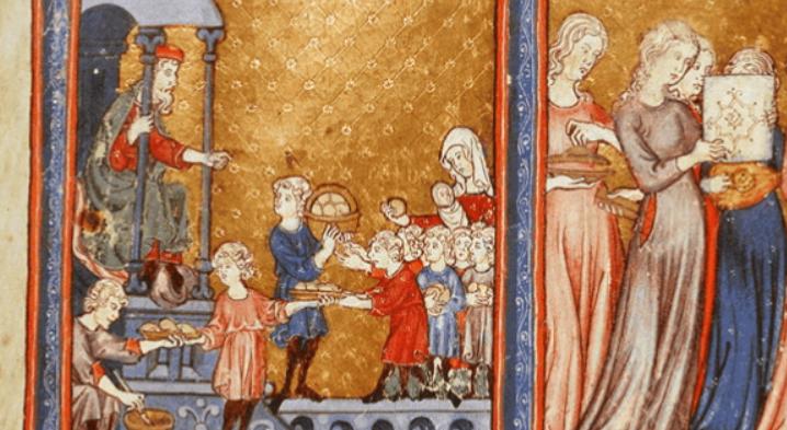 Illustration from the 14th century haggadah The Golden Haggadah