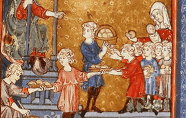 Golden Haggadah- Giving Bread