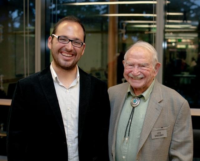 Oscar Aguirre-Mandujano, the 2013-14 Mickey Sreebny Memorial Scholar, with Dr. Leo Sreebny. Photo by Meryl Schenker.
