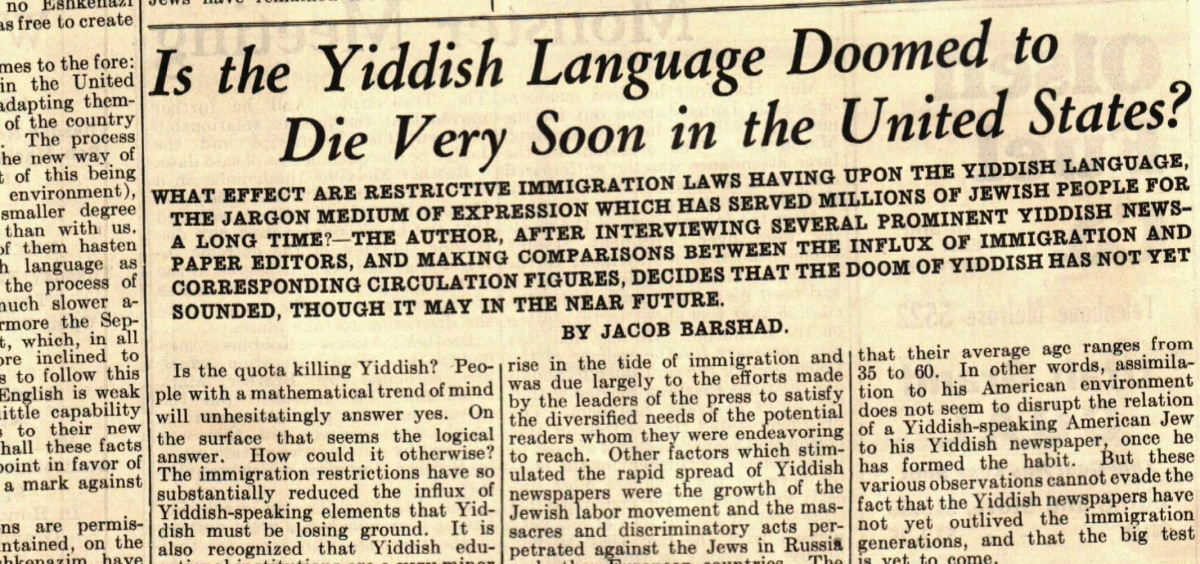 An article in the March 23, 1928 edition of The Jewish Transcript wondered about the future of Yiddish. Image courtesy of The Jewish Sound.