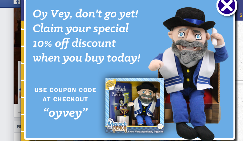 The discount code for The Mensch on a Bench? Oyvey, of course.