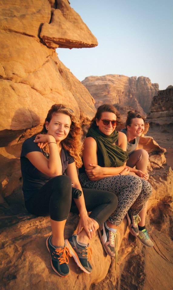 Jenna Mark and friends on a Bedouin tour of Wadi Rum, Jordan.