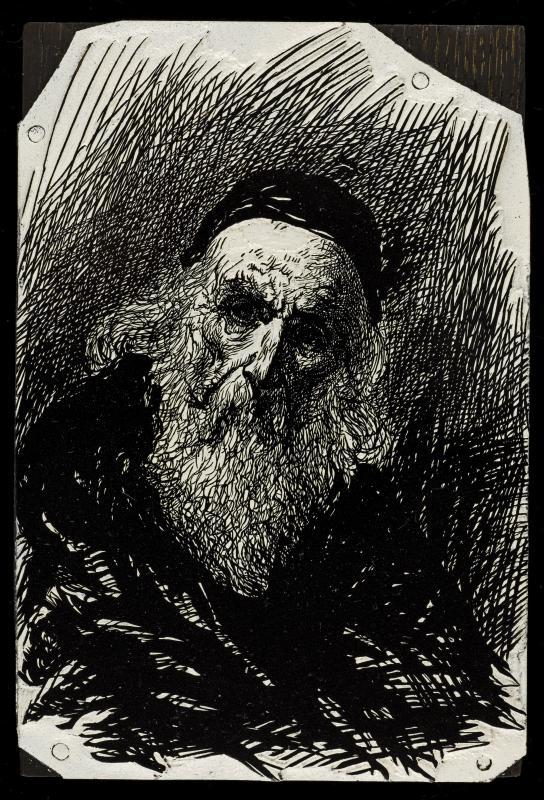 Sketch of the Parisian antique dealer as Moses. Image from Maison de Balzac / Roger-Viollet, via museosphere.paris.fr.