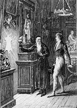 Depiction of Raphaël and the antique dealer by Adrien Moreau. From an English translation of Balzac's La Peau de Chagrin (The Magic Skin) published in Philadelphia, 1897.