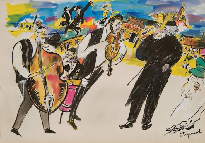 "Solomon Gershovs ""Musicians,"" undated. Like Chagall, Gershov was a student of Yehuda Pen."