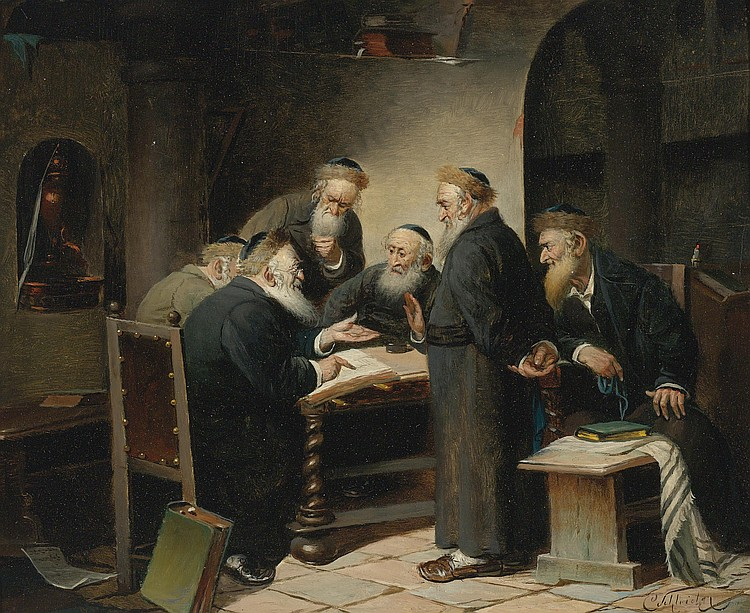 """A Discussion of the Talmud"" by the Austrian painter Carl Schleicher, ca.1859-1871."