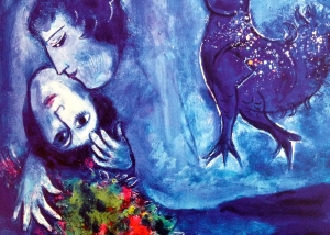 Brightly colored painting by Marc Chagall shows a man and woman embracing with a floral bouquet and dove nearby